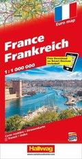 Hallwag Straßenkarte Frankreich; France; Francia