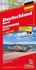 Hallwag Straßenkarte Deutschland Nord; Germany North; Allemagne du Nord; Germania del Nord