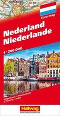 Hallwag Straßenkarte Niederlande; Nederland; Netherlands; Pays-Bas