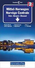 Kümmerly & Frey Karte Mittel-Norwegen, Oslo, Bergen, Alesund; Norvège Centrale, Oslo, Bergen, Alesund; Central Norway, O