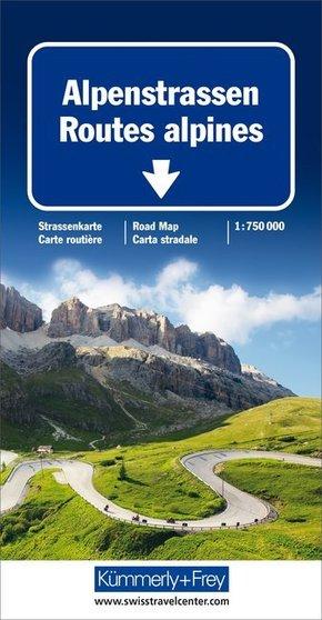 Kümmerly & Frey Karte Alpenstraßen Strassenkarte