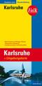 Falk Stadtplan Extra Standardfaltung Karlsruhe mit Ortsteilen von Ettlingen