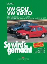 VW Golf Limousine von 9/91 bis 8/97, Golf Variant von 9/93 bis 12/98, Vento von 2/92 bis 8/97