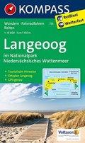 Kompass Karte Langeoog im Nationalpark Niedersächsisches Wattenmeer