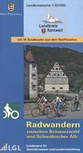 Topographische Landkreiskarte Baden-Württemberg Radwandern zwischen Schwarzwald und Schwäbischer Alb