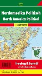 Freytag & Berndt Poster Nordamerika, physisch-politisch, ohne Metallstäbe