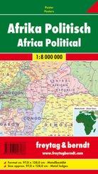 Freytag & Berndt Poster Afrika, physisch-politisch, mit Metallstäben