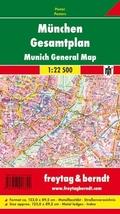 Freytag & Berndt Poster München, Gesamtplan, mit Metallstäben; Munich, General Map