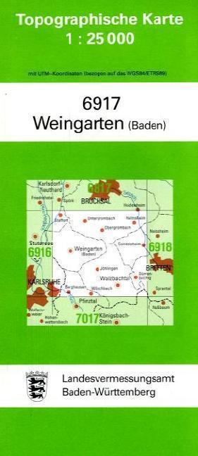 Topographische Karte Baden-Württemberg Weingarten (Baden)