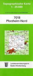 Topographische Karte Baden-Württemberg Pforzheim-Nord