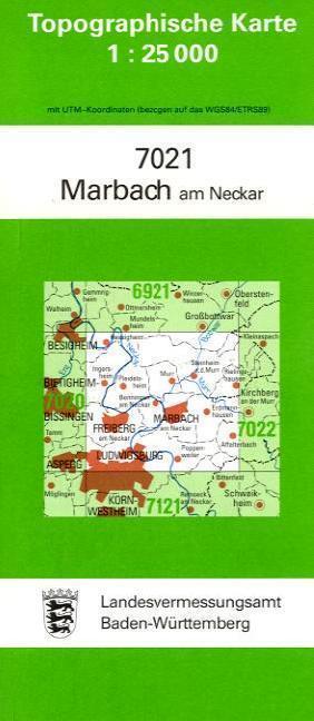 Topographische Karte Baden-Württemberg Marbach am Neckar