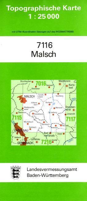 Topographische Karte Baden-Württemberg Malsch