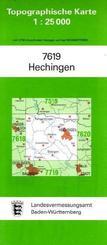 Topographische Karte Baden-Württemberg Hechingen