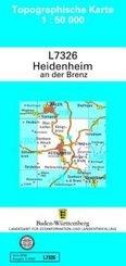 Topographische Karte Baden-Württemberg Heidenheim a. d. Brenz