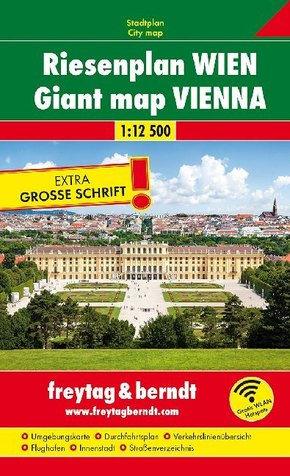 Freytag & Berndt Stadtplan Riesenplan Wien 1:12.500; Plano gigante Viena; Reuze kaart Wenen, Giant map Vienna; Plan géan