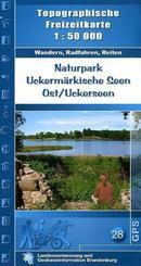 Topographische Freizeitkarte Brandenburg Naturpark Uckermärkische Seen, Ost / Uckerseen