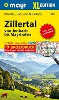 Mayr Karte Zillertal von Jenbach bis Mayrhofen