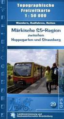 Topographische Freizeitkarte Brandenburg Märkische S 5-Region zwischen Hoppegarten und Strausberg