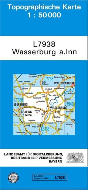 Topographische Karte Bayern Wasserburg a. Inn