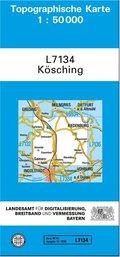 Topographische Karte Bayern Kösching