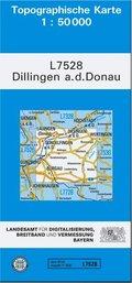 Topographische Karte Bayern Dillingen a. d. Donau