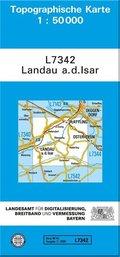Topographische Karte Bayern Landau a. d. Isar