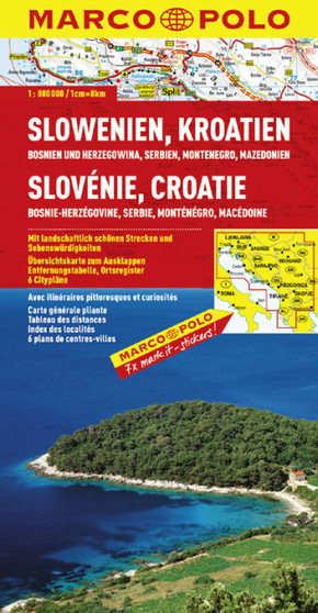 Marco Polo Karte Slowenien, Kroatien, Bosnien und Herzegowina, Serbien, Kosovo, Montenegro, Albanien, Mazedonien; Slovén