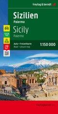 Freytag & Berndt Autokarte Sizilien - Palermo, Top 10 Tips, Autokarte 1:150.000