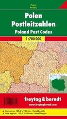 Freytag & Berndt Poster Polen, Postleitzahlen, mit Metallstäben; Poland, Post Codes