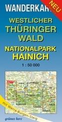 Wanderkarte Westlicher Thüringer Wald, Nationalpark Hainich