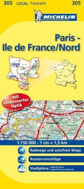 Michelin Karte Paris, Ile-de-France/Nord; Oise, Paris, Val d' Oise