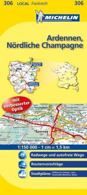 Michelin Karte Ardennen, Nördliche Champagne; Aisne, Ardennes, Marne