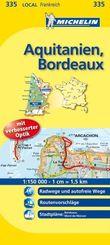 Michelin Karte Aquitanien, Bordeaux; Gironde, Landes