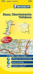 Michelin Karte Elsass, Oberrheinische Tiefebene; Bas-Rhin, Haut-Rhin, Territoire de Belfort