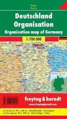 Freytag & Berndt Poster Deutschland, Organisation, mit Metallstäben; Organisation map of Germany