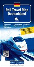 Kümmerly+Frey Karte Rail Travel Map Deutschland; Rail Travel Map Germany