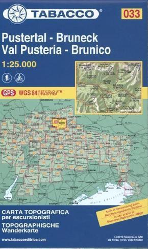 Tabacco topographische Wanderkarte Pustertal, Bruneck; Val Pusteria, Brunico