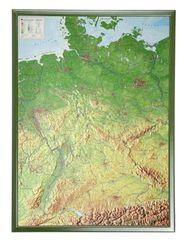 Deutschland, Reliefkarte, Groß, mit Holzrahmen - Germany