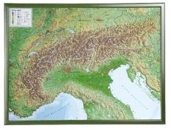Alpen, Reliefkarte, Groß, mit Holzrahmen - Alps