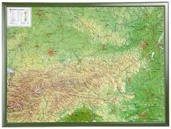 Österreich, Reliefkarte, Groß, mit Holzrahmen