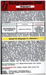 Blutgruppen Diät - Blutgruppe B, Medical Card