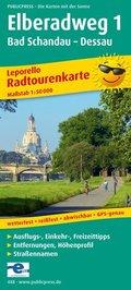 PublicPress Leporello Radtourenkarte Elberadweg, 23 Teilktn. - Tl.1