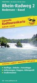 PUBLICPRESS Leporello Radtourenkarte Rhein-Radweg, 21 Teilktn. - Tl.2