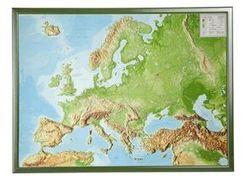 Europa, Reliefkarte, Groß, mit Holzrahmen