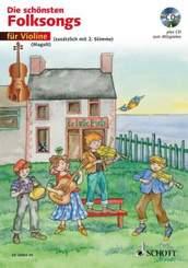 Die schönsten Folksongs für 1-2 Violinen, m. Audio-CD