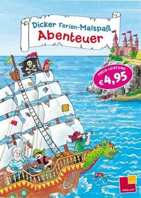 Abenteuer; Dicker Ferien-Malspaß   ; Malbücher u. -blöcke ; Ursprungsland: DE; Ill. v. Irene Sarre/Hans Wunderlich/Marta Hofmann; Deutsch; schwarz-weiss,