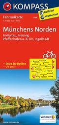 KOMPASS Fahrradkarte Münchens Norden, Hallertau, Freising, Pfaffenhofen a. d. Ilm, Ingolstadt