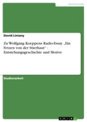"""Zu Wolfgang Koeppens Radio-Essay """"Ein Fetzen von der Stierhaut"""" - Entstehungsgeschichte und Motive"""