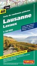 Hallwag Outdoor Map Lausanne, Lavaux, Wanderkarte