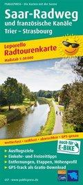 PublicPress Leporello Radtourenkarte Saar-Radweg und französische Kanäle, Trier - Strasbourg, 25 Teilkarten